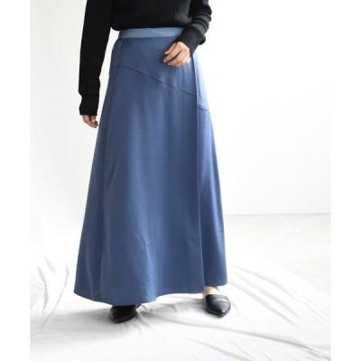 スカート ドレープサテンセミフレアロングスカート