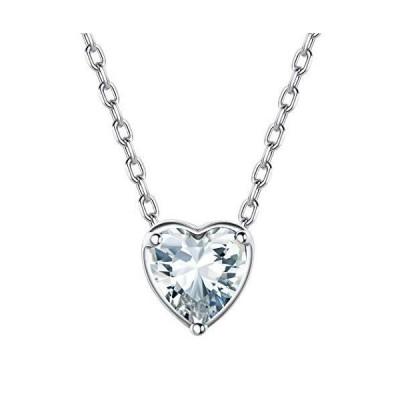 Suplight ハート ネックレス レディース 人気 シルバー925 金属アレルギー 4月 誕生石 ダイヤモンド アクセサリー