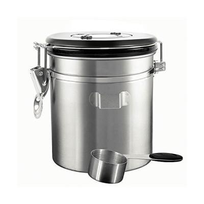 HAOCOO コーヒーキャニスター 1500ml スプーン付き 保存容器 ステンレス製 密封容器 茶筒 日付表示ダイヤル 防湿保存缶 コーヒ