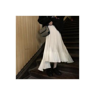 【送料無料】春 韓国風 プリーツ 単一色 優しい スカート(中位の長 | 346770_A64655-0895130