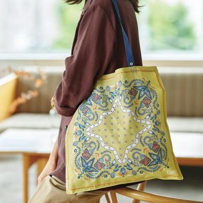 急な買い物も安心 結んでお出かけスカーフエコバッグ〈フラワーペイズリー〉の会 フェリシモ FELISSIMO