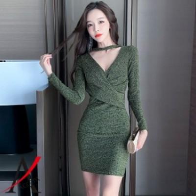 長袖 ミニワンピ セクシー ワンピース レディースファッション