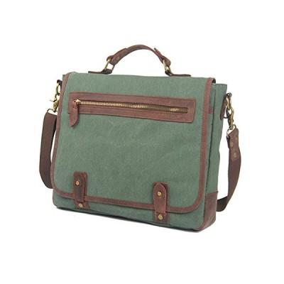 YAXIAO Retro Casual Shoulder Messenger Bag Men's Bag Canvas Portable Casual Briefcase, Green, 35x8x27cm briefcase 並行輸入品