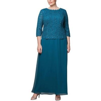 アレックスイブニングス ワンピース トップス レディース Plus Size Sequined Lace Gown Peacock Blue