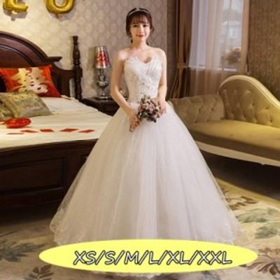 ウェディングドレス 結婚式ワンピース きれいめ 花嫁 ドレス 上品レディース ハイウエスト 着痩せ Aラインワンピース 白ドレス