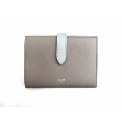 【中古】セリーヌ ミディアム ストラップ ウォレット バイカラー ぺブル×ミネラル 2つ折り財布 コンパクトウォレット