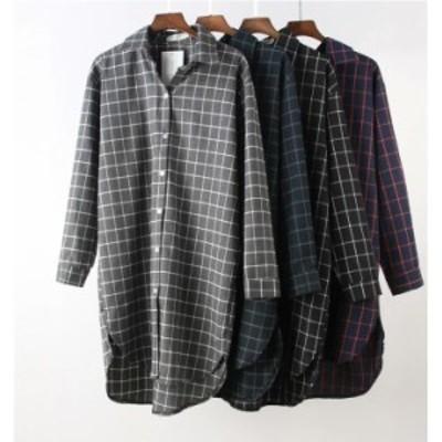 送料無料 チュニックワンピース トップス レディース 羽織り ロングシャツ 長袖 ゆったり 体型カバー 大きいサイズ 40代 春ワンピース 7
