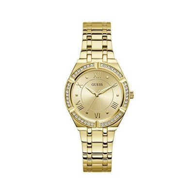 GUESS Women's Analog Quartz Watch with Stainless Steel Strap, Gold, 15.9 (M