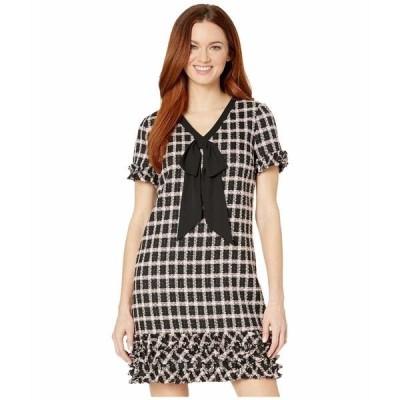 セセ ワンピース トップス レディース Short Sleeve V-Neck Grid Tweed Dress with Tie Rich Black
