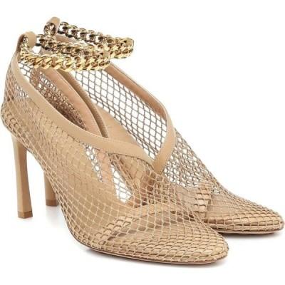 ボッテガ ヴェネタ Bottega Veneta レディース パンプス シューズ・靴 Chain-trimmed mesh pumps Beige/Pony/Gold