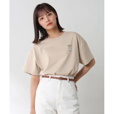 (Honeys/ハニーズ)イラストプリントTシャツ/レディース ベージュ
