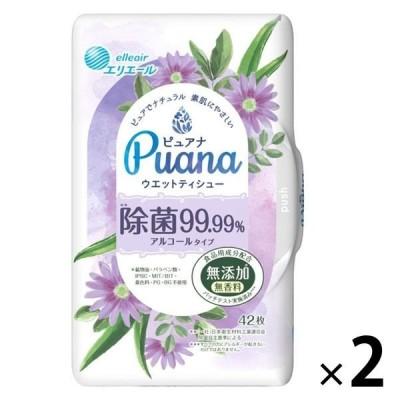 大王製紙ウェットティシュー 本体 42枚入 エリエール ピュアナ(Puana)除菌99.99% 1セット(2個)大王製紙