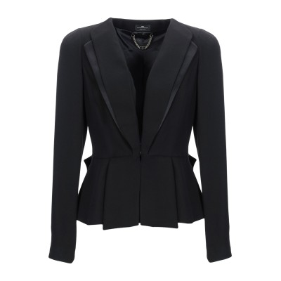 ELISABETTA FRANCHI テーラードジャケット ブラック 44 レーヨン 88% / バージンウール 12% テーラードジャケット