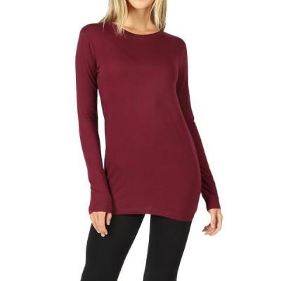 レディース 衣類 トップス Women Basic Round Crew Neck Long Sleeve Stretch Cotton Spandex T-Shirts グラフィックティー