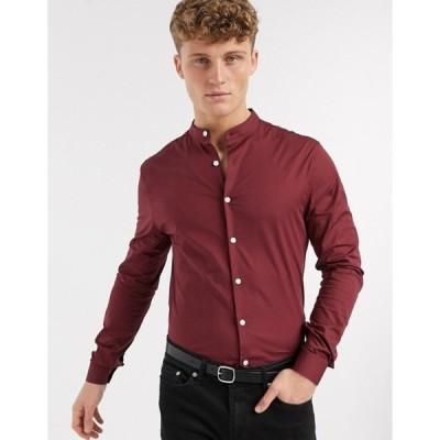 エイソス メンズ シャツ トップス ASOS DESIGN stretch skinny fit shirt in burgundy with grandad collar