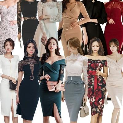 高品質 韓国ファッション OL、正式な場合、礼装ドレス セクシーなワンピース、一字肩 二点セット、側開、深いVネック やせて見える、ハイウエ ワンピース春夏服メリヤスワンピース