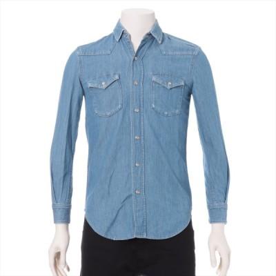 サンローランパリ 14年 コットン デニムシャツ XS メンズ ライトブルー  ウエスタン