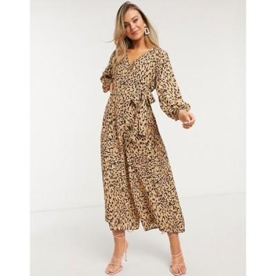 エイソス レディース ワンピース トップス ASOS DESIGN wrap tie jumpsuit in leopard print