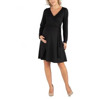 24セブンコンフォート ワンピース トップス レディース Women's Knee Length Long Sleeve Maternity Wrap Dress Black