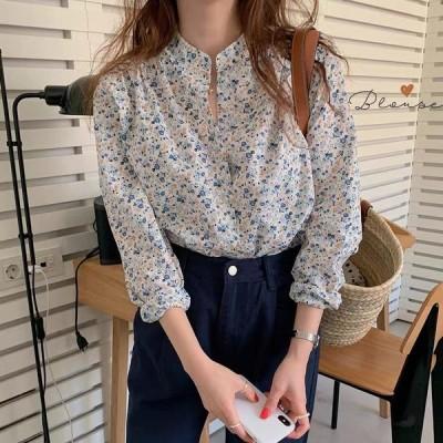 シャツ レディース 花柄 小花柄 春 ラウンドネック 薄い 長袖 トップス S M L