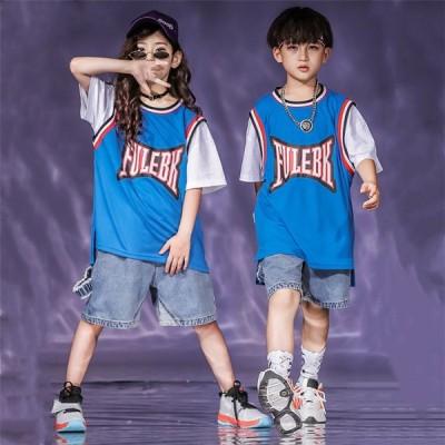 キッズダンス衣装 セットアップ ヒップホップダンス衣装 ヒップホップダンスパンツ HIPHOPダンス衣装 デニム キッズ ダンス衣装 派手 韓国 練習着