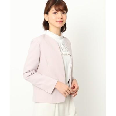Couture brooch / 【ママスーツ/入学式 スーツ/卒業式 スーツ】カラーレスジャケット WOMEN ジャケット/アウター > ノーカラージャケット