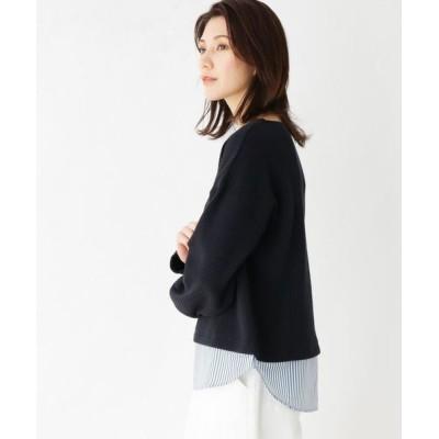 HusHusH/ハッシュアッシュ 【手洗いOK】裾切り替えドロップショルダープルオーバー ネイビー(093) 02(M)