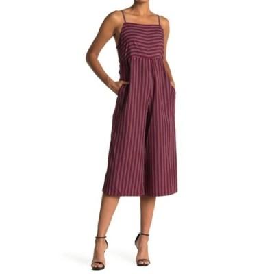 アンジー レディース ワンピース トップス Striped Wide Leg Jumpsuit WINE
