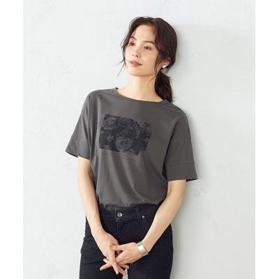 (COMME CA ISM/コムサイズムレディス)フォトプリント Tシャツ/レディース チャコール