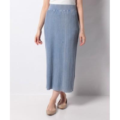 (alcali/アルカリ)【nota】ACIDWASHリブロングタイトスカート/レディース ブルー