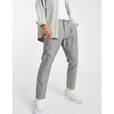 エイソス メンズ カジュアルパンツ ボトムス ASOS DESIGN cigarette fit pants in textured stripe