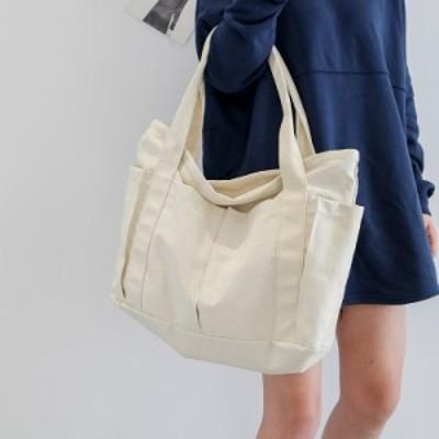 ★シンプル 大人気★ キャンバスバッグ トートバッグ 大容量 通勤 通学 ポケット ジッパー A4 収納 シングル ショルダー ホワイト 白 イ