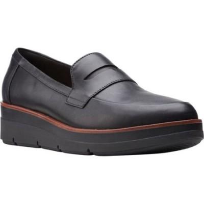 クラークス Clarks レディース ローファー・オックスフォード ウェッジソール シューズ・靴 Shaylin Step Wedge Penny Loafer Black Full Grain Leather
