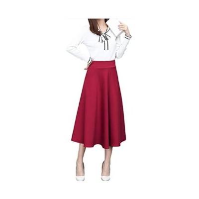 [エムズ ミミ]無地 シンプル ロング スカート ポケット 付き レディース 選べる長さ ブラック レッド M〜XXL (78 レッド XL)