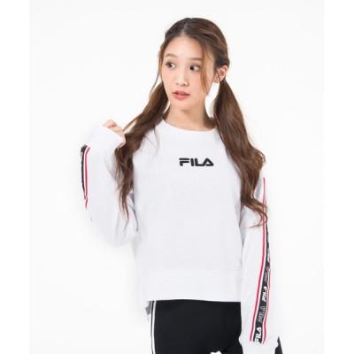 スウェット 【FILA/フィラ】ロゴテープ ショート丈 トレーナー/ビッグシルエット/スウェット