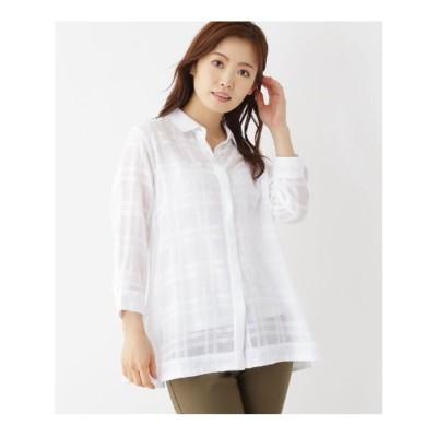 シューラルー SHOO-LA-RUE 【M-L】シアーチェックバックシャンシャツ (オフホワイト)