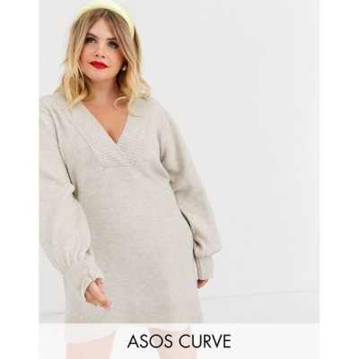 エイソス ドレス 大きいサイズ レディース ASOS DESIGN Curve deep v neck jumper dress with volume sleeve エイソス ASOS
