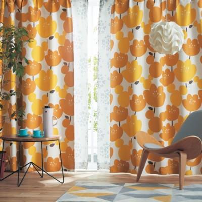 ディズニー 北欧調デザインのプリント遮光カーテン「ミッキーモチーフ」  約100×90(2枚)
