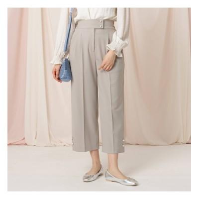【クチュール ブローチ/Couture brooch】 フェイクパール釦付きワイドパンツ