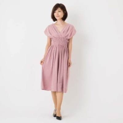 ワンピース ミモレ丈 サマードレス 半袖 Vネック フリル お呼ばれ 女子会  韓国ピンクMサイズ