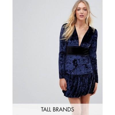 ヴェロモーダ Vero Moda Tall レディース ワンピース ワンピース・ドレス Velvet Frill Hem Mini Dress Navy
