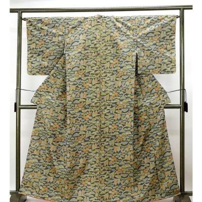半額\50%OFF/SALE 紬 正絹 草花模様 身丈162cm 裄丈64cm 紬 リサイクル 着物