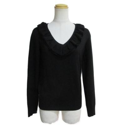 ルイヴィトン フリル襟ニット ブラック ウール100%  ランクA