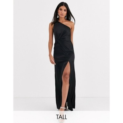 ジャーロトール レディース ワンピース トップス Jarlo Tall one shoulder satin maxi dress with split in black