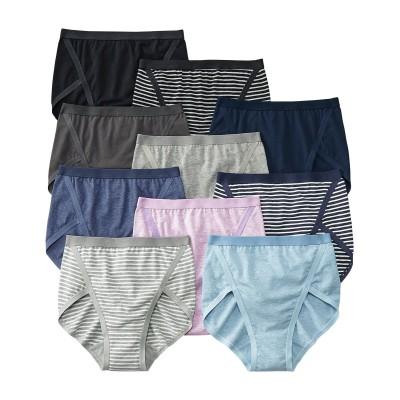 脚さばきがいい綿混ストレッチ深ばきショーツ10枚組(L) スタンダードショーツ, Panties