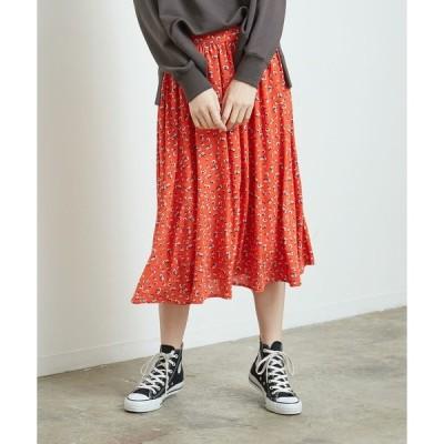 スカート 花柄ギャザースカート