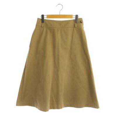 【中古】マーガレットハウエル HEAVY COTTON TWILL スカート ロング フレア 2 ベージュ /MY ■OS ■SH レディース