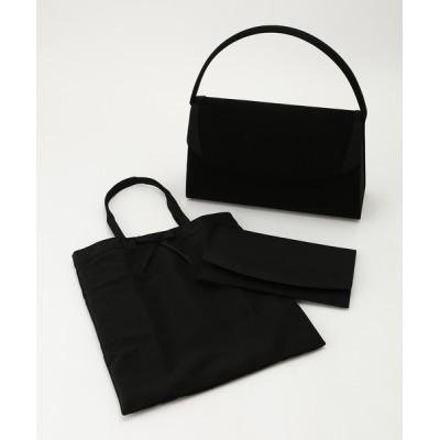バッグ ハンドバッグ 【喪服用】袱紗・サブバック付きブラックフォーマルバック