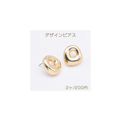 デザインピアス ドーナツピアス 17×18mm ゴールド(2ヶ)