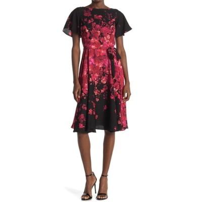 ガビースカイ レディース ワンピース トップス Flutter Sleeve Floral Belted Crepe Dress BLACKBERRY